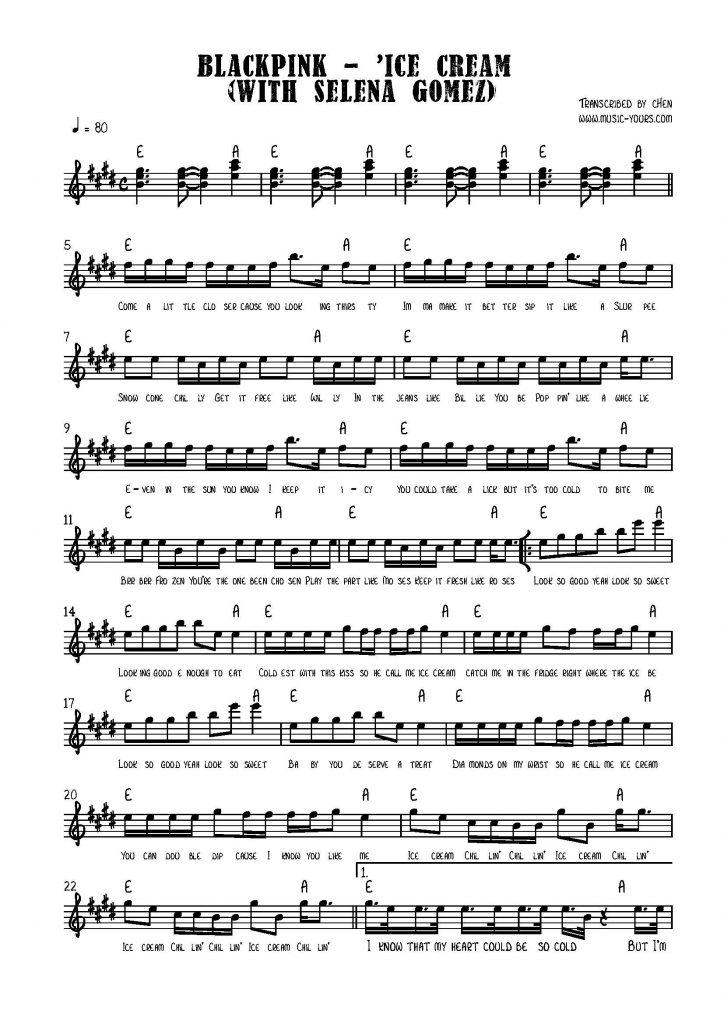 BLACKPINK - 'Ice Cream (with Selena Gomez) Piano Sheet Music โน๊ตเปียโน เรียนเปียโน สอนเปียโน เปียโนป๊อป