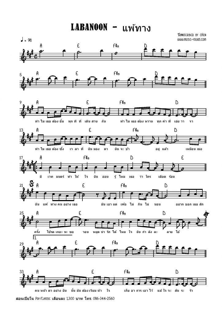 LABANOON - แพ้ทาง โน๊ตเปียโน เรียนเปียโน สอนเปียโน เปียโนป๊อป